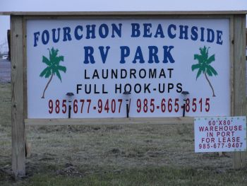 Fourchon Beachside RV Park - Come to the beach for some fishing or just have fun.  Fourchon Beachside RV park is located just minutes from the beach and across the road from the public boat launch in Fourchon.