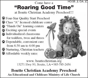 Boutte Christian Academy Preschool - Boutte Christian Academy (BCA) is a childcare and educational ministry of Life Church in Boutte.  BCA was founded in 1980 as a Mother's Day Out Program and has grown over the years into a Class