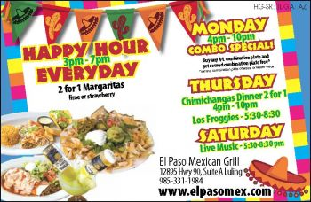 El Paso Mexican Grill - We are open and eager to serve you the best Mexican dishes in Louisiana.  Come experience our delicious food and festive atmosphere.  From daily specials to live Mariachi music, it's all here at El Paso Mexican Grill!