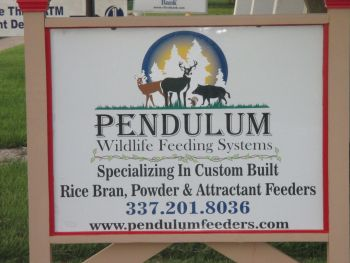 Pendulum Wildlife Feeding Systems - Specializing in custom built rice bran,powder and attractant feeders.Feeders are built to be maintaince free and very user friendly.Pendulum feeders were field tested for 5 years before being put out for retail sales.Heavy duty construction and built for