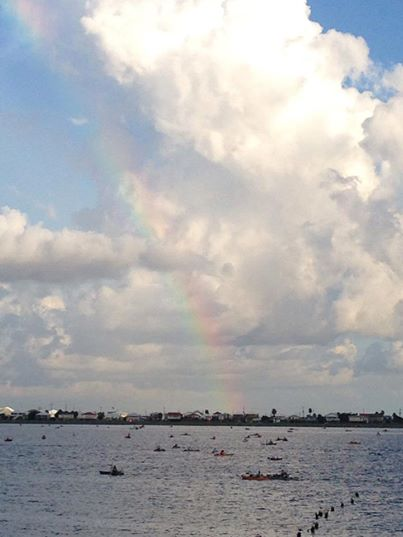 Rainbow over Ride the Bull kayakers - Nicole Dufrene